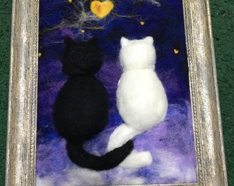 Felt Paintin Romantic date. Two lovely cats under the moon. 3D