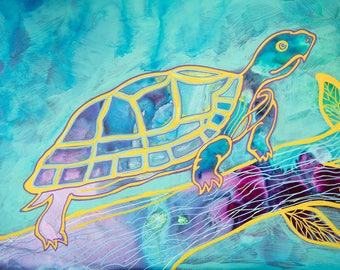 Turtle Painting Art - Original Artwork - Colorful Picture Outdoor Wildlife Turtle Decor - Gift for Friend - Mixed Media Art Turtle Lover
