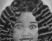 Fine Art Giclee PRINT Of An Original Natural Hair Drawing Titled Wavy Baby Tresses