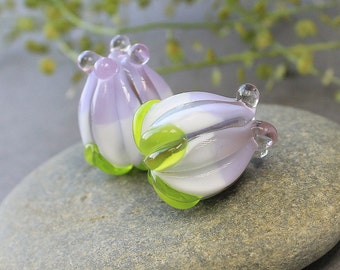 Handmade Lampwork Beads - Set of 2 Glass Beads, Glass Beads, Lampwork Flower Beads