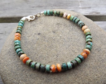 Green Turquoise and Spiny Oyster Bracelet