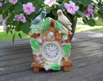 Ceramic Planter With Birds, Plants and Cuckoo Clock