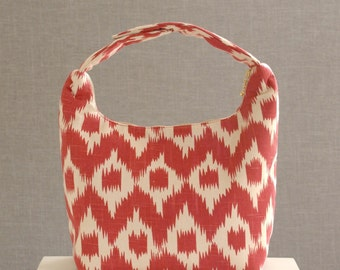 Lunch Bag, Women Lunch Bag, Insulated Lunch Bag,Work Bento Lunch Bag, Insulated Lunch Tote, Small Purse, Work Lunch Bag-Red Beige Ikat Print