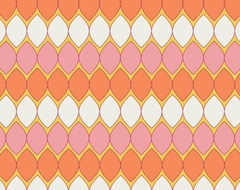 Cotton Fabric - Pink Dreamin Vintage Mod Pop Carnation by Art Gallery Fabrics - AGF Orange, White, Pink, Quilting Fabric - Nursery Fabric