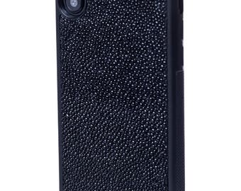 Black Stingray Leather Case with natural for iPhone X - Stingray Case for IPhone X