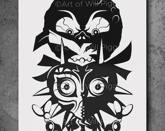 "Legend of Zelda Majora's Mask Screen Print of the shadow paper cut signed 12""x18"" on French Sweet Tooth 100lb paper using black metallic ink"