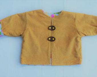 Elephant Mustard Reversible Baby Jacket/Coat, Baby Girl's Jacket, Baby Cord Jacket, Size 12mths