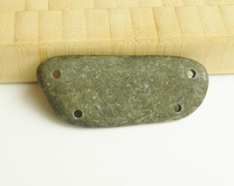 Stone Pendant - Stone Finding - Drilled Stones - Drilled Stone - Stone Link - Natural Jewelry Supplies - Rustic Findings - Pebble Link