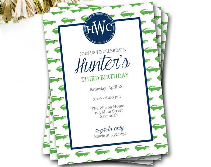 Alligator Birthday Invitation, Monogram Invitation, Preppy Invite, Alligator Invite, Navy And Green, Boy Birthday, Gator, DIY Printable