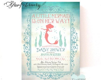 Coral Mermaid Baby Shower Invitation Little Mermaid Shower Mermaid Invitation Teal and Coral // Printable OR Printed No. 331BABY