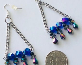 Iridescent faceted bead chandelier earrings, dangle fishhook, purples,blues,gold,multicolored bar earrings