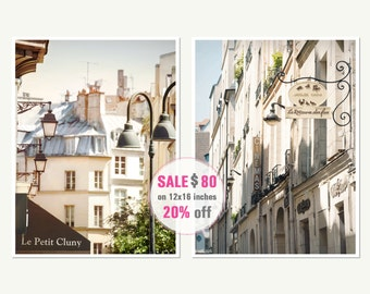 Diptych art Paris prints set of two prints 12x16 Vertical wall art set of 2 prints Paris architectural art photography Beige wall art