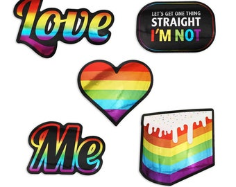 LGBTQ Sticker Set, Pride Stickers, Latop Metallic Stickers, Rainbow Stickers, Laptop Decals, LGBT Accessories, Vinyl Stickers, Stickers Set