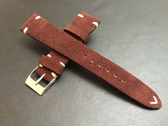 Leather watch band, Suede Leather, Leather watch strap, Brown watch band for 19mm, 20mm lug, Suede Brown, 16mm buckle, FREE SHIPPING