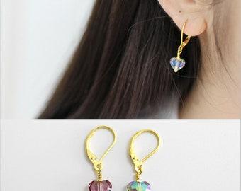 Heart Dangle Earrings, Sterling Silver, Hoop Earrings, Pendulum Earrings, Crystal Earrings, Minimalist Drop Earrings, Gift For Her, XIE+CO