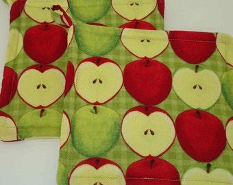 Red Apple Hot Pads - Apple Potholder Set - Apple Trivet - Apple Kitchen Decor