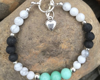 Handmade Lava Stone Bead Amazonite Howlite Essential Oils Diffuser Bracelet