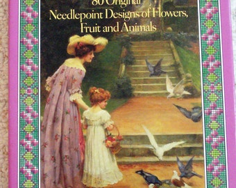 English Garden Embroidery Vintage Book 80 Needlepoint Designs of Flowers, Fruit and Animals