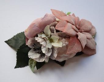 Vintage hair flower, flower hair clip, pin up hair flower, bridal hair flower, ranunculus, poinsettia, fascinator, wedding, boho, bohemian