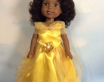 """Yellow and gold princess dress fits 14.5"""" Wellie Wishers doll"""