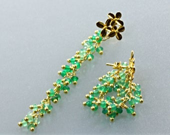 AAA Quality shaded Green Onyx Rondelle Gold Plated Sterling Silver Earrings, Versatile Style Earrings, Gold plated sterling silver earrings