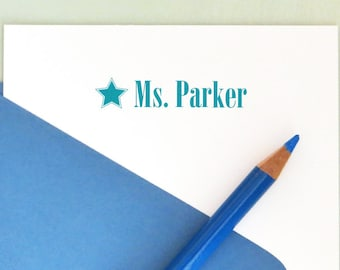 Personalized Teacher Stamp, Star Name Stamp, Back to School, Self Inking Star Stamp, Teacher Gift, AT102