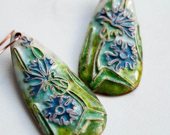 Enamel Cornflower floral earrings, Blue floral earrings,  flower earrings, Cloisonne enamel Jewelry, Glass enamel