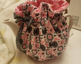 Handmade Modern Pink & Black Tea Cozy