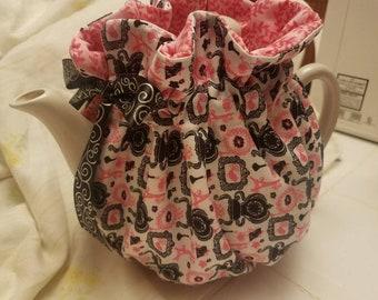 Handmade Modern Pink & Black Tea Cozy