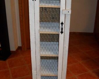 White Chicken Wire Door Cabinet