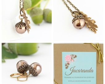 Acorn Jewelry Gift Set - Brown Acorn Necklace - Acorn Earrings - Brass Acorn - Rustic Jewelry - Woodland Gift Set - Woodland Jewelry