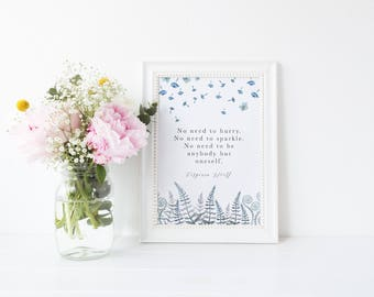 Watercolour Blue Floral Virginia Woolf Quote Print A4 A5