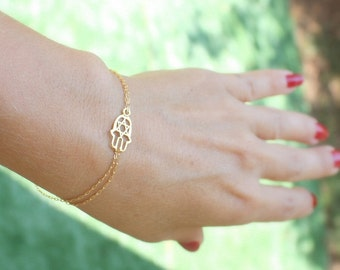 star of david bracelet - Hamsa bracelet - gold bracelet - Sideways Hamsa Hand on 14k Gold Filled chain - Tiny Star of David, bracelet gold