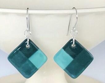 Teal Ceramic Earrings, Porcelain Earrings, Color Blocked Earrings, Surgical Steel or Sterling Ear Wires, Pottery Earrings, Drop Earrings