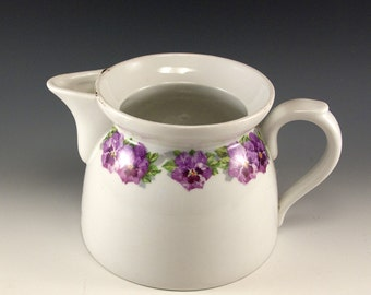 Souvenir from Carlsbad Vintage White Ceramic Pitcher with Purple Violets
