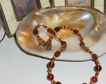 Amber Glass & Crystal Beaded Necklace - Warm Rustic Shades and a Mix of Cuts and Sizes - B320