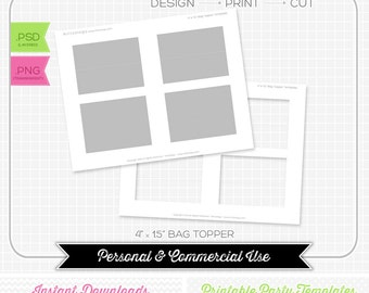 Bag Topper 4 x 1.5 Template - INSTANT DOWNLOAD - PRINTABLE - Make your own party printables
