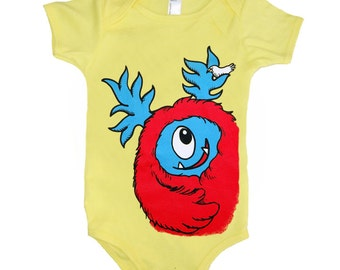 Baby Monster Onesie - Yellow with Red Monster size 6 month
