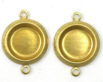 Rolled Edge Raw Brass Stampings 8mm Round Setting 2 Loops (8) FI153