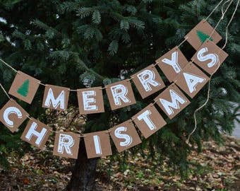 Merry Christmas Banner COUNTRY STYLE - Holiday Banner - Christmas Decoration - Merry Christmas Garland - Holiday Garland - Ready to Ship
