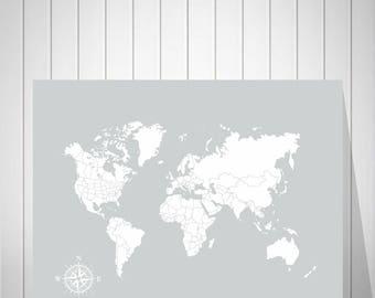 Push Pin Map Canvas | Foam Board World Map | Wedding Signature Map | Wedding Gift | World Map Poster | Adventure Awaits | Travel Map - 52177