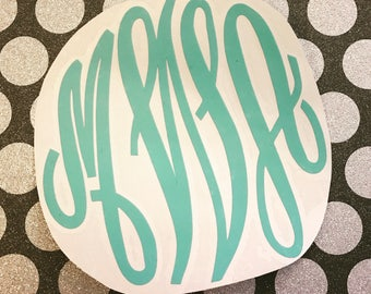 NEW !! Robins Egg Blue Monogram Decal | Monogram Decal | Vinyl Decal | Car Decal | Laptop Decal | Water Bottle Decal