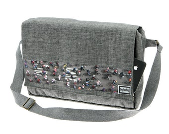 Grey Messenger Bag,Printed Bag , Cotton,Laptop Bag with Adjustable Straps - Dundee NYC Bike Race Print