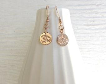Rose gold OM earrings, rose gold earrings, yoga jewelry