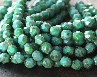 Opaque Turquoise Picasso Czech Glass Beads, 6mm Faceted Round - 50 pcs - eT6313-6