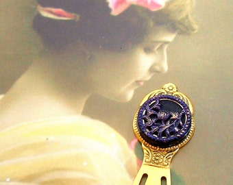 1800s BUTTON bookmark, Victorian flower button on gold. Unique present, gift, stocking stuffer.