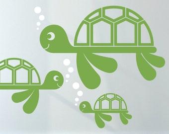 Sea Turtle Wall Decal Cute Ocean Baby Nursery Turtle Theme Underwater Under the Sea Beach Kids Decor
