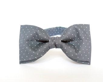 Gray Bow Tie Pre Tied BowTie Polka Dots Bow Tie Grey Bow Tie for Men Grooms Bow Tie Gift for Men Gift for Husband Womens Bow Tie White Dots