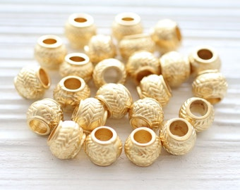 10pc matte gold rondelle beads, large gold metal beads, heishi beads, gold rondelle, gold heishi, metal spacer beads, large hole beads