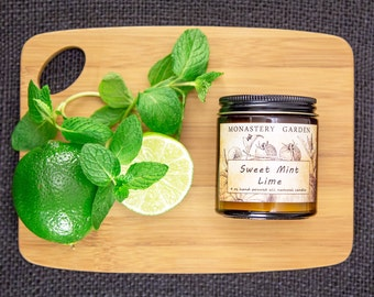 Soy Candle SWEET MINT LIME, Scented candle, natural candle, soy candles, vegan, 4 oz amber jar
